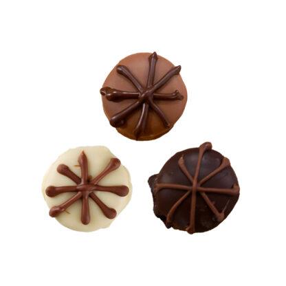 white fudge, milk fudge and dark chocolate fudge