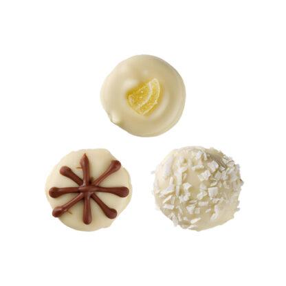 white chocolates, plain fudge, lemon fudge, coconut fudge